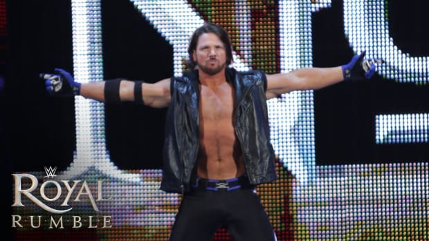 AJ Styles' entrance during his debut at the 2016 Royal Rumble