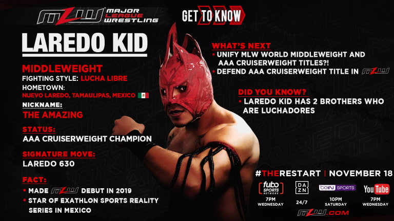 AAA World Cruiserweight Champion Laredo Kid joins MLW for The Restart