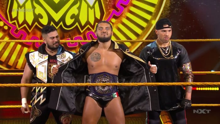 Dammit, I love Legado del Fantasma! They are doing everything right, staying on top, winning, running down everyone who disrespects them, but they have just enough vulnerability to keep you invested in their matches. That and all three members are talented individuals on their own. This week, the trio took on Breezango and Isaiah 'Swerve' Scott in a fun tag team match that is slowly building to the match we really want to see, Swerve against Santos Escobar for the NXT Cruiserweight Championship. This match was full of tandem offense, cool spots, and also showcased how good Raul Mendoza is, whilst keeping the focus of the story on Escobar and Scott. Scott was booked incredibly strong here, at times taking out both Mendoza and Joaquin Wilde simultaneously. When Swerve finally got his hands on Esobar, the two showed that they have amazing chemistry and if it weren't for an accidental tag, Swerve would have pinned the champ for the second time since his tenure started in WWE, but it wasn't meant to be as Tyler Breeze of Breezango would get outnumbered and pinned for the win.This was about building towards the future, Swerve is the only man in WWE who has beaten the champion, Escobar so it's only a matter of time before we get to a showdown between those two, but in the meantime Swerve looked strong and capable en route to a loss, and him being able to hit Escobar with his finisher further establishes his ability to beat the champion. But ultimately it's still far too soon for Legado del Fantasma to take any losses as a trio so the outcome was obvious, but this was lots of fun to watch. I was hoping for this match to make TakeOver but we still have more story to tell.