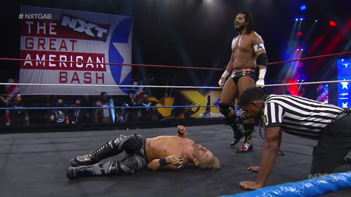 While I'm not wildly excited about Santos Escobar's name at all, I can acknowledge that this has been the most interesting and relevant the Cruiserweight title has been since Neville and Enzo Amore had it a couple of years ago. And Escobar's faction, Legado del Fantasma, has that new car smell to it still so there was no way that Drake Maverick and Breezango were going to win tonight. Despite the outcome being in big neon lights, the 6 man tag team match was entertaining and furthered the story of Drake Maverick seeking his revenge on Escobar for his transgressions against him over the past few weeks. Drake fell to Escobar personally, but it's written that these two are destined for a one on one showdown down the road.