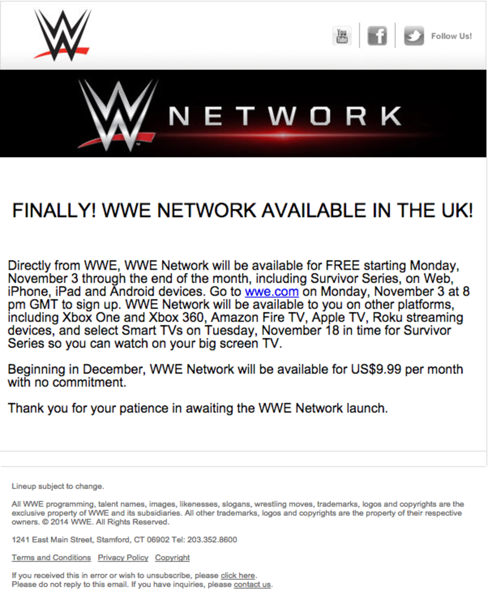 WWE Network in UK