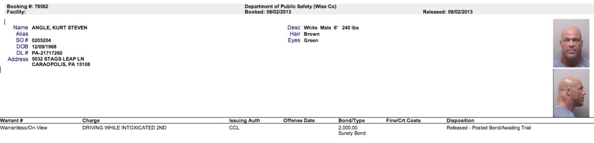 Kurt Angle Arrest record