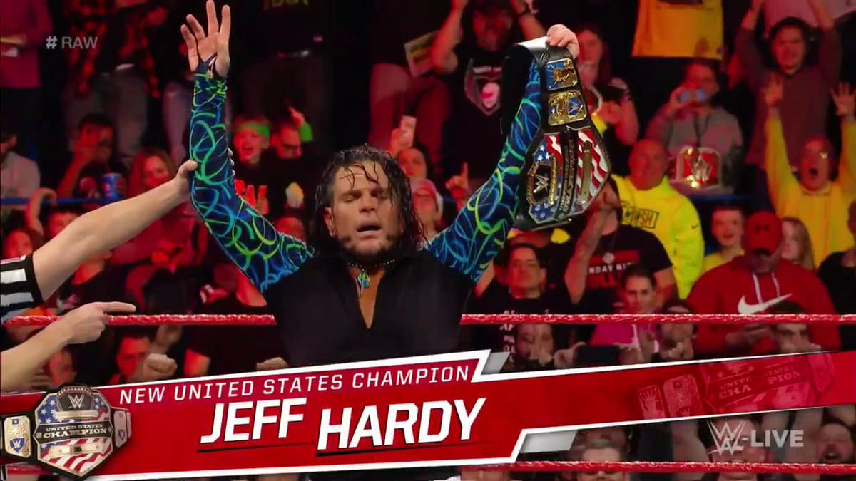 00a1afcb ... drafted to RAW and mouthing off to the General Manager immediately, US  Champion Jinder Mahal was forced to defend that very title against Jeff  Hardy.