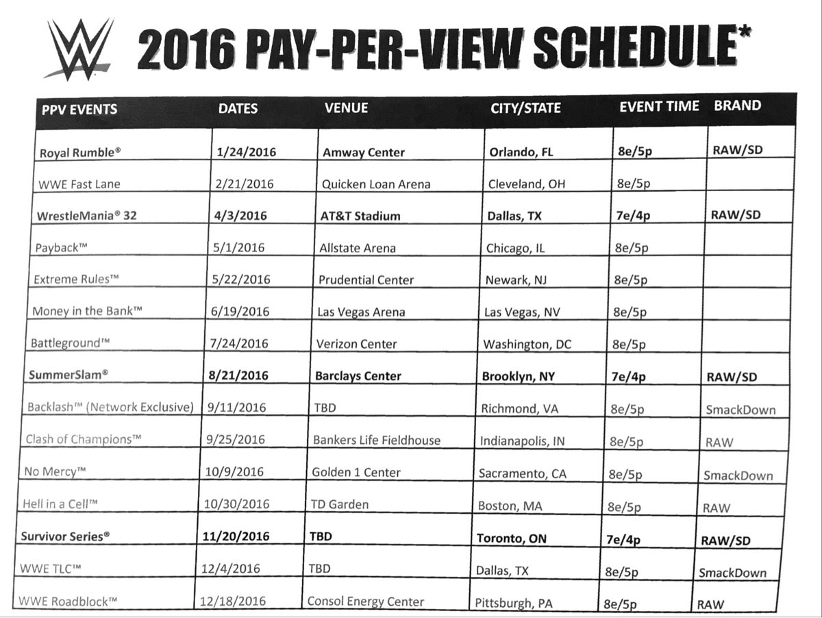 Rumored WWE PPV Schedule