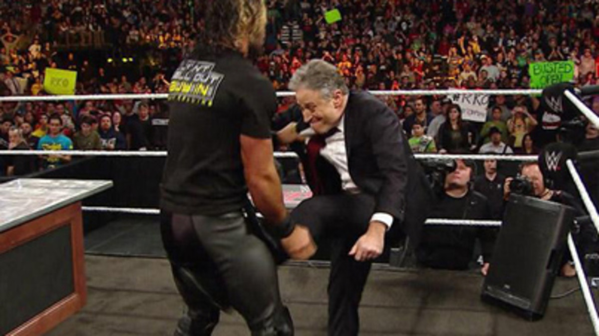 Jon-Stewart-Kicked-Seth-Rollins-Right-In-The-Nuts-On-WWEs-Monday-Night-Raw-Video1