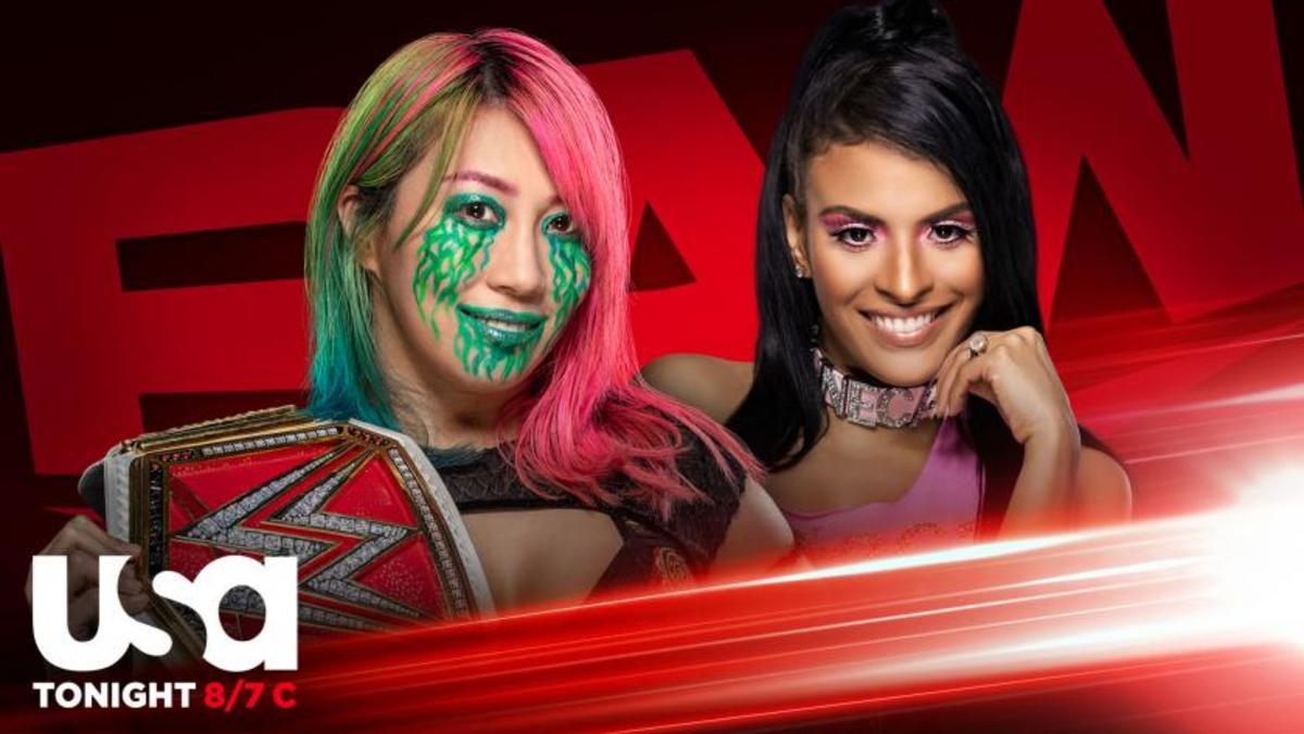 Raw Womens' Champion Asuka left and Zelina Vega right