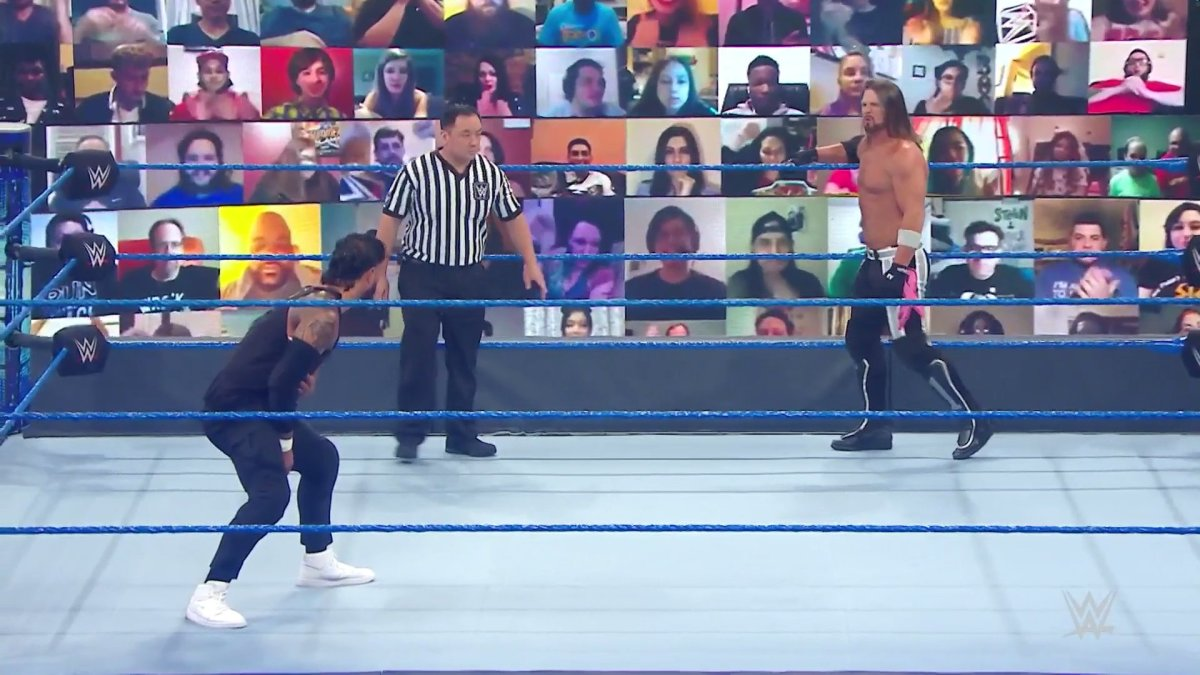 Jey Uso (left) takes on AJ Styles (right) to start off the matches for this SmackDown episode